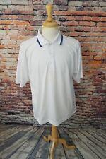 FootJoy FJ Men's Short Sleeve White Blue Trim Athletic Golf Polo Shirt Sz M EUC