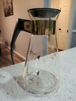 Vintage Corning Glass Coffee Carafe Pitcher With Black Lid Star Pattern Atomic