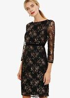 Phase Eight Jules Lace Sheath Dress Black/Rose Gold Size UK18 RRP120