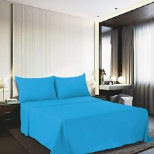 1800 Count Deep Pocket Solid Microfiber Bed Sheet With Pillow Cover Sky Blue