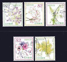Japan 2017 82y Hospitality Flowers Series VII set of 5 Fine Used