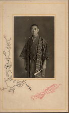 1890s JAPAN ANTIQUE ORIGINAL PHOTO Japanese Man Kimono Folding Fan vtg old aa32