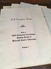 R J Cunningham 1600 Ornamental Iron Designs 4 Volume 1959 Mid Century Wrought