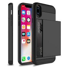 For Apple iPhone X Hybrid Wallet Case Credit Card Holder Rugged Hard Armor Cover