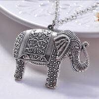 Top Frauen Elegante Mode Elefanten Anhänger Pullover Vintage Halskette Schmuc_HO