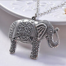 Top  Women Elegant Fashion Elephants Pendant Sweater Vintage Necklace Jewelry JR
