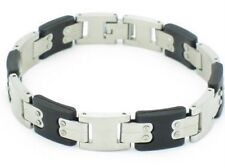 PLATINUM STEEL BLACK RUBBER FLAT LINK DESIGN BRACELET