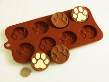 8 Cella Paw Print Gatto Cane CIOCCOLATO CARAMELLE BISCOTTI Stampo in silicone Bakeware Torta