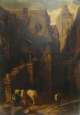 Tableau Ancien Huile Sur Papier- Scène de rue avec Animaux- XIXème -