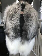 Platinum Saga Fox Real Fur Stole Wrap Shawl Scarf Collar New With Tags