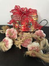 String of 5 Pink Ceramic Garlic Cloves On Hanging Twine Rope Braid Kitchen Decor