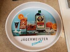 "Jagermeister Serving Bar Tray Metal White 13"" Diameter Vintage Collectible"