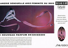 PUBLICITE ADVERTISING 094  1992  SHISEIDO    parfum femme FEMINITE DU BOIS ( 2 p