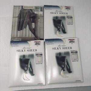 Sheer Caress Silky Sheer Pantyhose Queen Tall Bone 81 Sheer Toes LOT OF 4 New