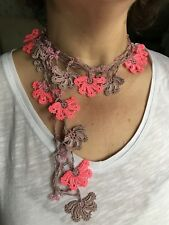 Long Crochet Necklace, , Anatolian Washable Jewelry,  Pink Vintage Style Lariat,