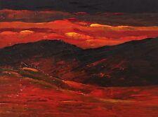 "SUNSET MOUNTAINS Palette Knife Landscape Oil Painting 9""x12"" Julia Garcia Art"