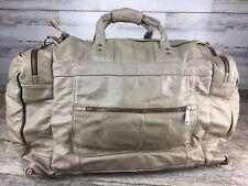Vintage Leather Travel Bag Overnighter Duffle Taupe Brown IDEAL Zips Shoulder