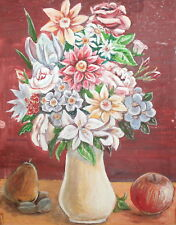 IMPRESSIONIST STILL LIFE WITH FLOWERS VINTAGE GOUACHE PAINTING SIGNED