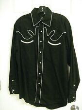 Western Express Pearl Button Black Western Shirt Large