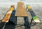 Wood Vintage German Beer Garden Table And Benches, Oktoberfest Picnic Table C72