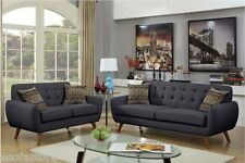 Retro Collection Ash Black Sofa & Loveseat Polyfiber Tufted Seating Sofa Couch