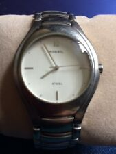 Men's Fossil Steel Watch Round Silver Face Stainless.