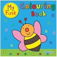 MY FIRST COLOURING BOOK KIDS CHILDREN 32 PICTURES GLOSS COVER LEARNING WHITE