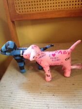 Lot of 2 Victorias Secret Pink Stuffed Animal Dog I Love French Kissing & Love