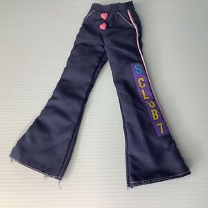 S Club 7 Doll Trousers Rachel Vintage 90s NO DOLL Blue with Pink Heart buttons