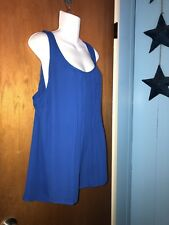 Torrid 3 Royal Blue Pleat Front Top Chiffon Plus Size
