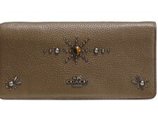New COACH Western Rivets Slim Wallet antique nickel 57530 leather stud wristlet