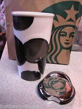 2X New Starbucks Tribute Black Dots Dbl Wall Ceramic Mug Travel Tumbler 10 oz