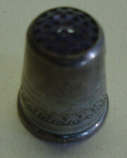Antique 830 marked silver thimble with amethyst colour top