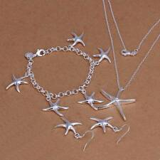 925Sterling Solid Silver Starfish Bracelet Earrings Necklace Jewelry Sets S124