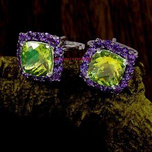 Natural Amethyst & Lemon Topaz Gemstones 925 Sterling Silver Cufflinks For Men's