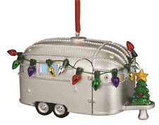 Light Up Silver Camper Christmas Holiday Ornament