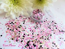 Nail Art Chunky *ExPlosion* Black Pink Silver Mix Hexagon Glitter Spangles Pot