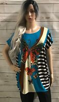 Women's / ladies Xin Lai butterfly turquoise multi coloured top size XL New