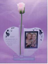Gift For Nana Heart Shape Glass Ornament Photo Frame Poem Rose Stand Handl