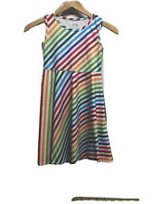 Funnycokid Girl's Multicolored Striped Dress Size L
