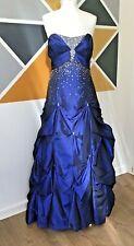 Blue Sequin Prom Idol Dress Size 14 Diamante With Wrap/Shawl Bridesmaid Ballgown