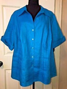 LAFAYETTE 148 New York turquoise linen shirt blouse   women plus size 22 / 3X