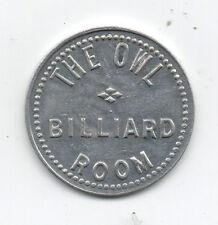 Old Aluminum Trade Token Owl Billiard Room 10c Trade