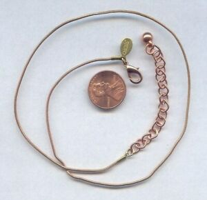 CHICO' COPPER & BRASS FINE SNAKE CHAIN ADJUSTABLE TAIL NECKLACE 1101