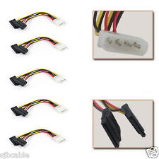 5pc IDE/Molex To Serial ATA SATA 4 PIN Power Adapter Cable Brand New
