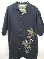 Tommy Bahama Paradise Island Embroidered Lounge Shirt 100% Silk Men's L