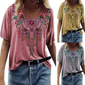 Womens Hippie Print V-Neck Tops Short Sleeve T-Shirt Summer Casual Loose Blouse