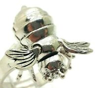 925 Sterling Silver Bumblebee Honey Bee Insect Finger Ring