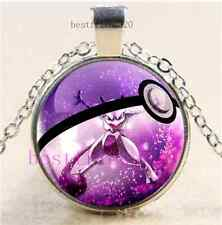 Pokemon Mewtwo Pokeball Cabochon Glass Tibet Silver Chain Pendant Necklace