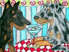 Beauceron Drinking a Martini Art Print 8x10 Other Dog Collectible Vintage Style
